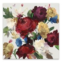 Autumn Floral 27-Inch Hand Embellished Square Canvas Wall Art