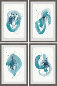 Marmont Hill 4-Piece Turquoise Drips 24-Inch x 36-Inch Framed Wall Art Set