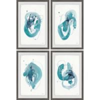 Marmont Hill 4-Piece Turquoise Drips 32-Inch x 48-Inch Framed Wall Art Set
