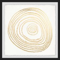 Marmont Hill Golden Swirl 12-Inch Squared Framed Wall Art
