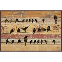 Marmont Hill Birds on Wood V 36-Inch x 24-Inch Floater Framed Canvas Wall Art