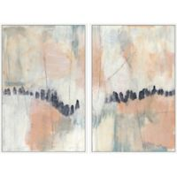 Marmont Hill 2-Piece Blush & Navy III 32-Inch x 24-Inch Floater Framed Canvas Wall Art Set
