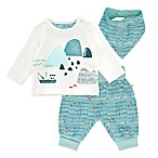 Mac & Moon Size 3M 3-Piece Fishing Top, Pants & Bib Set in Blue
