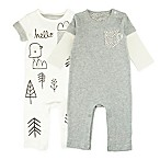 Mac & Moon Size 3M 2-Pack Rompers in Grey/White