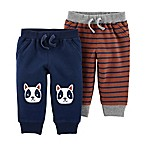 carter's® Size 3M 2-Pack Pull-On French Terry Pants in Navy/Brown