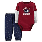 carter's® Newborn 2-Piece Little Brother Football Bodysuit and Pant Set in Red/Navy