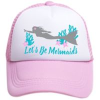 Tiny Trucker Toddler Let's Be Mermaids Trucker Hat in Pink/White