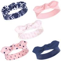 Yoga Sprout Size 0-24M 5-Pack Paisley Ikat Headbands in Blue