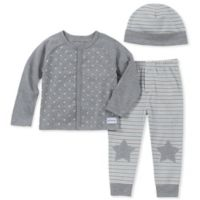 Calvin Klein Size 6-9M 3-Piece Star Cardigan, Pant, and Hat Set in Grey