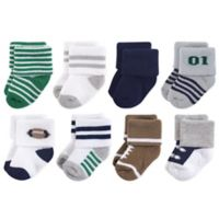 Little Treasures Terry Football Size 0-6M 8-Pack Socks in Green