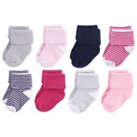 Luvable Friends® Size 12-24M 8-Pack Stripe Folded Cuff Socks in Navy/Pink