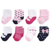 Little Treasures Terry Polished Size 6-12M 8-Pack Socks in Blue