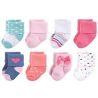 Little Treasures Terry Confetti Size 0-6M 8-Pack Socks in Pink