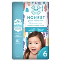Honest 18-Pack Size 6 Diapers in Painted Feathers Pattern