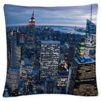 New York City Square Throw Pillow in Blue