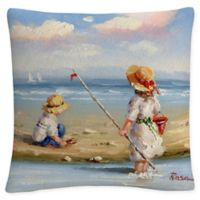 At the Beach III Square Throw Pillow in White