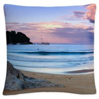 Kaiteriteri Sunset Square Throw Pillow in Blue