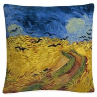Wheatfield Crows Square Throw Pillow in Gold