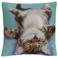 White Little Napper Square Throw Pillow in Teal