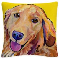White Molly Square Throw Pillow in Yellow