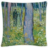 Undergrowth with Two Figures Square Throw Pillow in Green