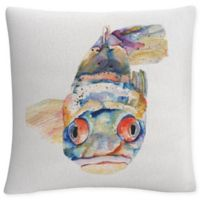 Fish Square Throw Pillow in White