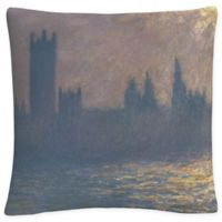 Houses of Parliament Square Throw Pillow in Grey