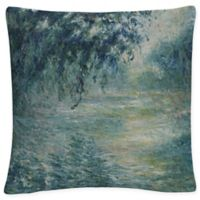 Morning on the Seine Square Throw Pillow in Green
