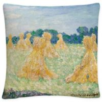 The Young Ladies of Giverny Square Throw Pillow in Green