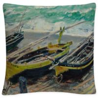 Three Fishing Boats Square Throw Pillow in Green