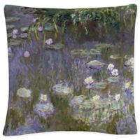 Water Lilies Square Throw Pillow in Grey