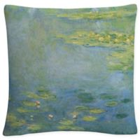 Water Lilies Square Throw Pillow in Green