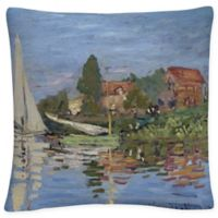 Regatta at Argenteuil Square Throw Pillow in Green
