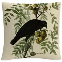 American Crow Square Throw Pillow in Green