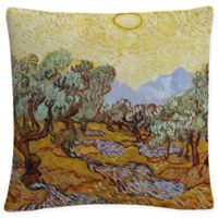 Olive Trees 1889 Square Throw Pillow in Yellow