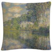 Poplars on the Epte Square Throw Pillow in Green