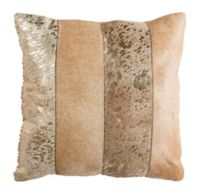 Safavieh Blair Metallic Cowhide Square Throw Pillow in Beige/Gold