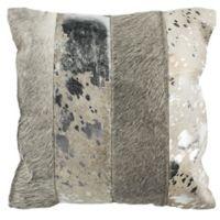 Safavieh Blair Metallic Cowhide Square Throw Pillow in Grey/Silver