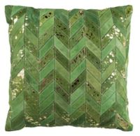 Safavieh Ezla Cowhide Square Throw Pillow in Olive Green