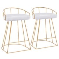 "Lumisource® Velvet Canary 25.75"" Bar Stools in White (Set of 2)"