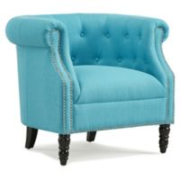 Handy Living® Wood Upholstered Casey Chair in Turquoise