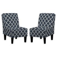 Handy Living® Wood Upholstered Bryce Chairs in Navy (Set of 2)