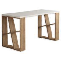 Brian Wooden Desk in White/Oak