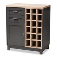 Baxton Studio Maxime Wine Cabinet in Brown/Dark Grey