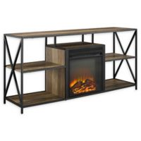 "Forest Gate 60"" Blair Industrial Modern Fireplace Console in Oak"