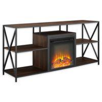 "Forest Gate 60"" Blair Industrial Modern Fireplace Console in Dark Walnut"