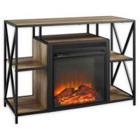 "Forest Gate 40"" Blair Industrial Modern Fireplace Console in Oak"
