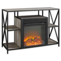 "Forest Gate 40"" Blair Industrial Modern Fireplace Console in Grey"