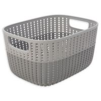 Simplify 2-Tone Decorative Medium Storage Basket in Grey