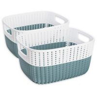 Simplify Small Sailor's Knot Storage Bins in Blue (Set of 2)
